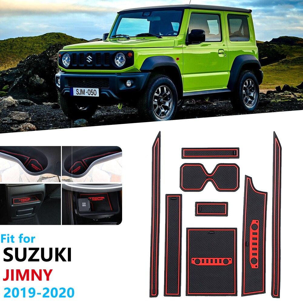 Anti-Slip Rubber Gate Slot Cup Mat For Suzuki Jimny 2019 2020 JB64 JB74 Jimny Sierra Car Accessories Stickers Door Slot Mat