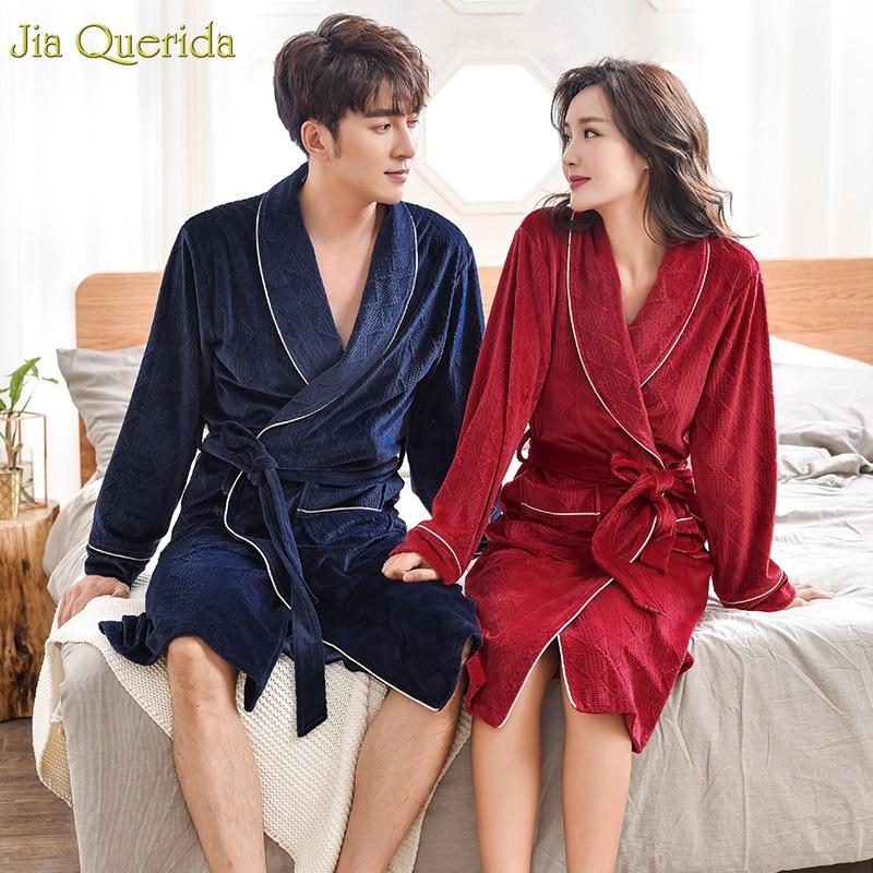 Sleeping Robe Couple Bathrobe Buy China Direct Long Sleeves Winter Warm Island Velvet Super Soft Solid Luxury Couple Kimono Robe