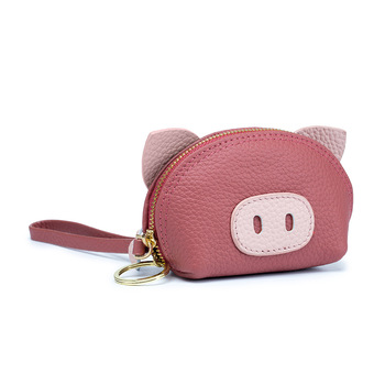 Real Cow Leather Cute Lovely Pig Design Mini Lady Street Bag Fashion Little Wallet Key Case Animal Purse