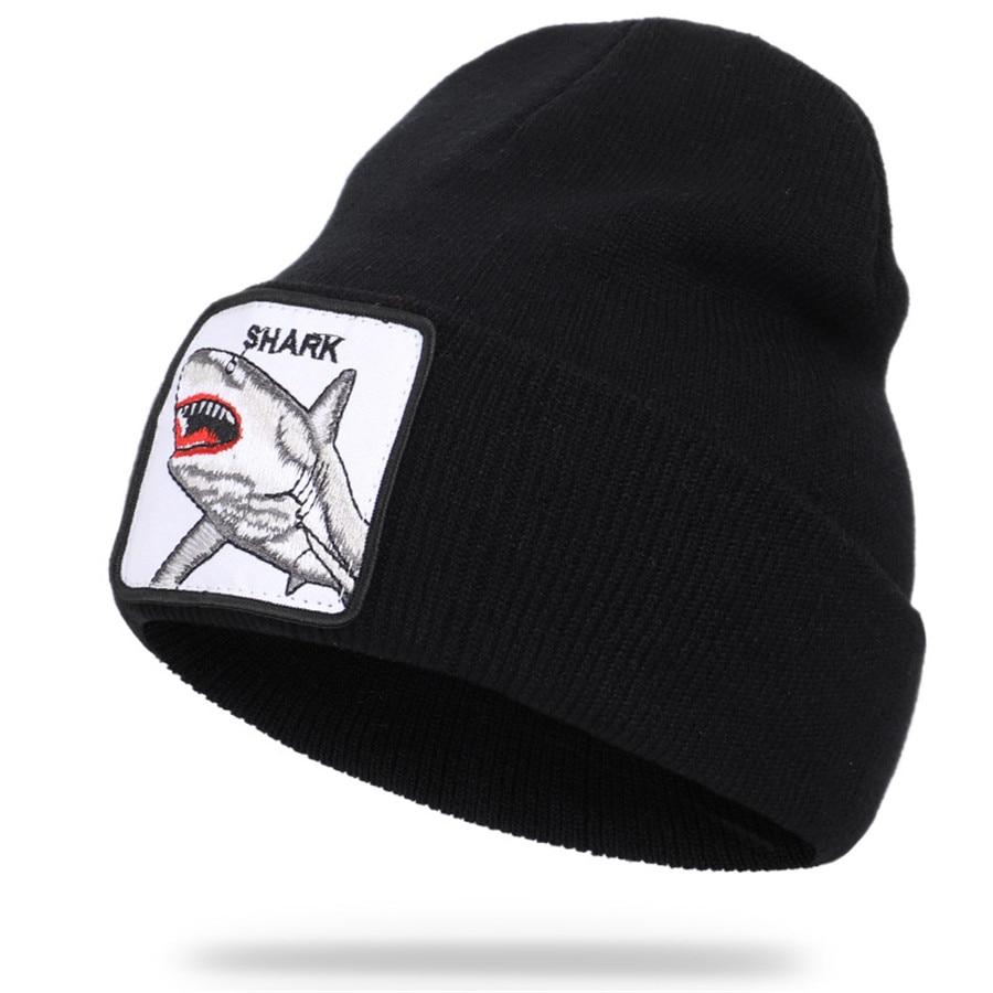 New Shark Animal   Skullies     Beanies   Hats Warm Knitted Autumn Winter Cap For Women Men Hip Hop Bonnet Cap