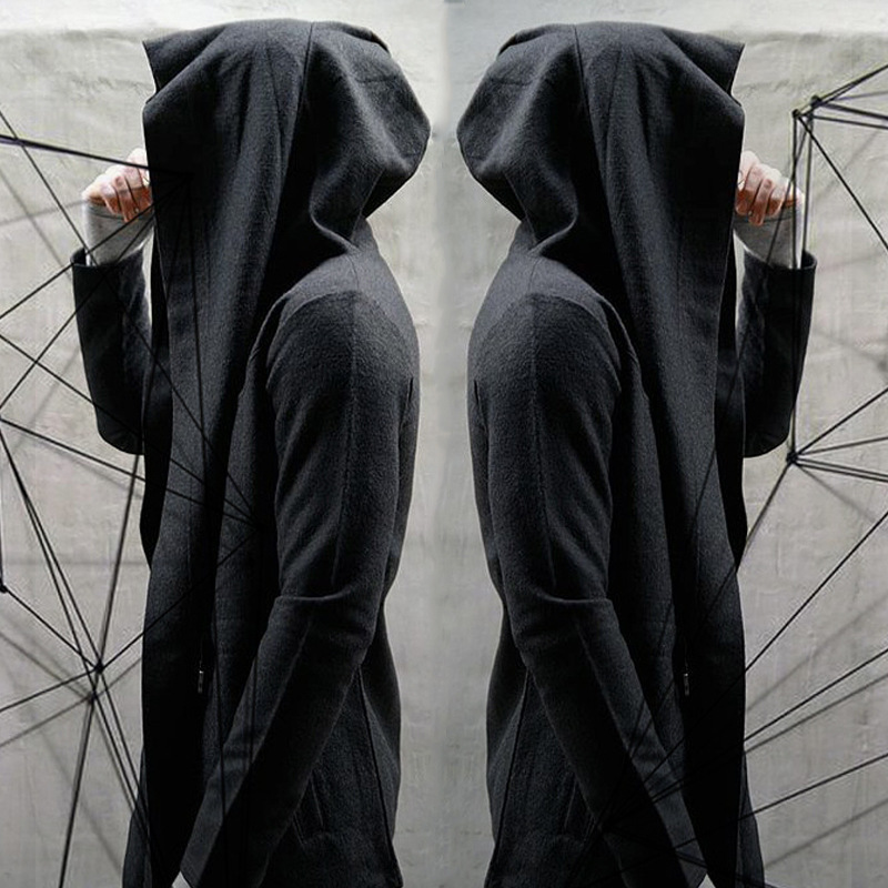 Hip Hop Unisex Casual Open Stitch Hooded Long Cloak Cape Coat Men Women Solid Pocket Loose Clock Coat Streetwear