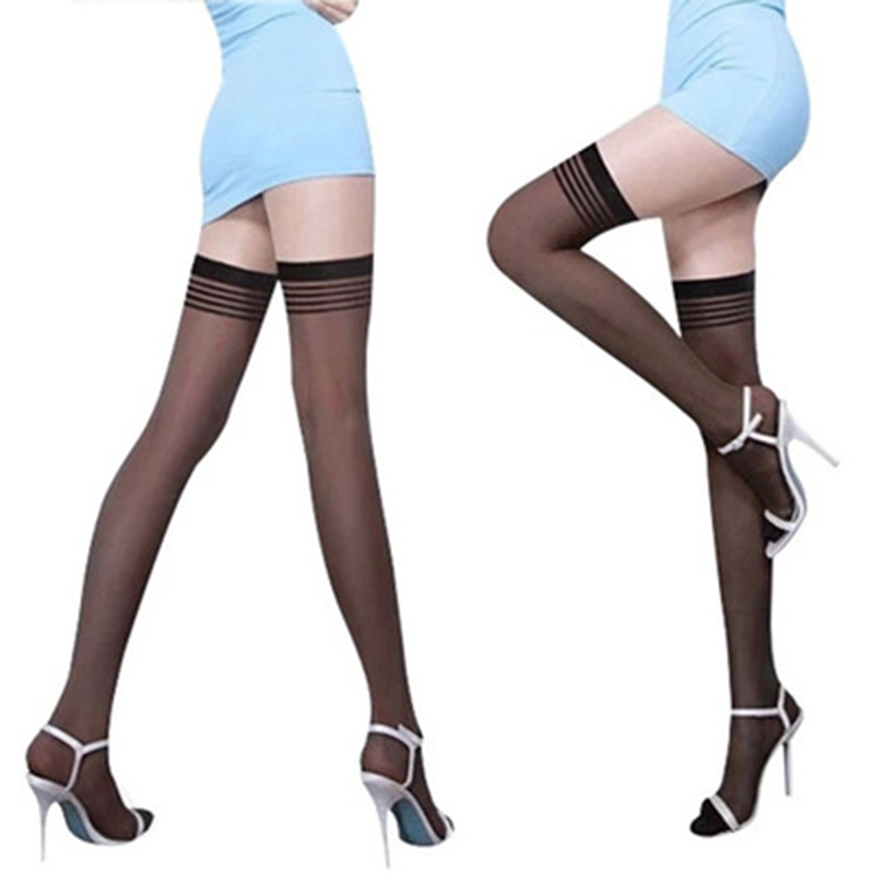 Sexy Girls Hot Sale Black Fashionable Stay Up Silk Stocking Top Lingerie Sexy Hold Ups Stockings Dress Summer T-Shirt Tights