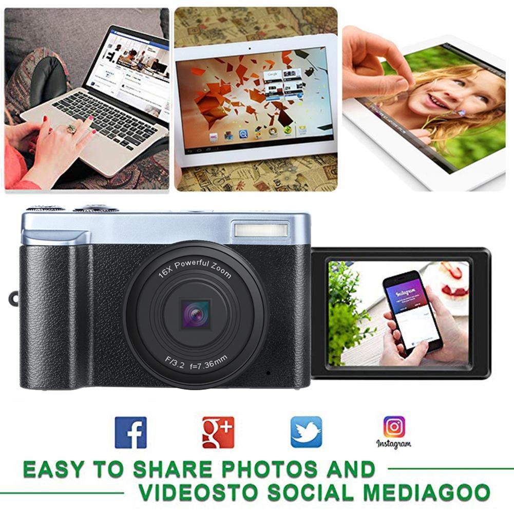 KOMERY, Новое поступление, цифровая камера 3,0 дюймов, ЖК дисплей, флип экран, 4 K, видеокамера, 16X, цифровой зум, поддержка Wi Fi, HD выход, селфи камера - 6