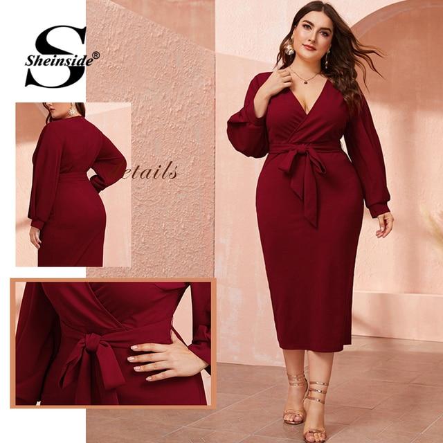 Sheinside Plus Size Deep V Neck Pencil Dress Women 2019 Autumn Lantern Sleeve Solid Midi Dresses Ladies Burgundy Belted Dress 5