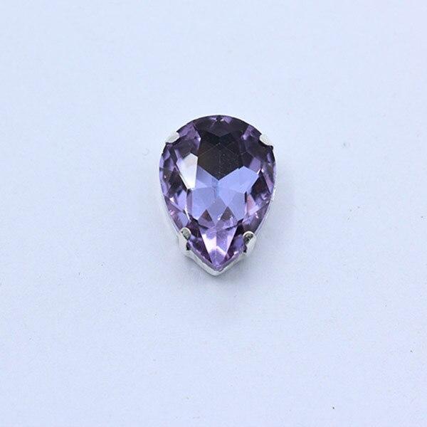 Все размеры слеза 24-Цвет стекло камень Пришить с украшением в виде кристаллов Стразы diamantes для шитья серебряной оправе в виде когтя для рукоделия Костюмы аксессуары - Цвет: lt violet