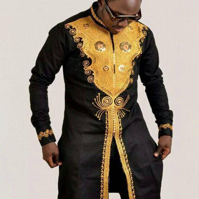 Black Golden Print Luxury African Dashiki Long Shirt Men 2019 Fashion Rich bazin African Clothes Men Slim Fit Long Sleeve Shirt