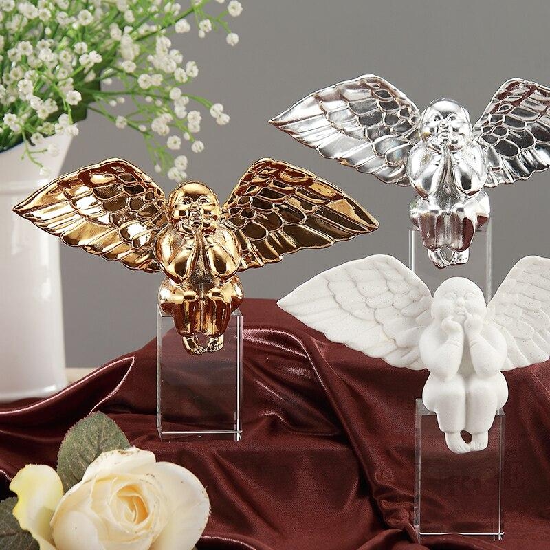 Simple pierre cristal gros ange décoration artisanat moderne chambre décoration accessoires nativité scène de noël Figurines miniatures
