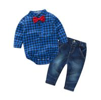 JOYINPARTY 2019 Newborns clothes new red plaid rompers shirts+jeans baby boys clothes bebes clothing set
