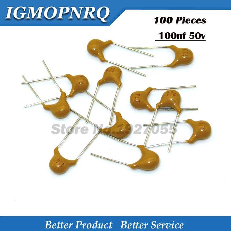 100pcs Monolithic Ceramic Capacitors Multilayer Chip Cap 50V 100nF 0.1uF 104pF