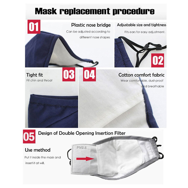 Cotton PM2.5 Adult Mouth Mask Anti Dust Mask Activated Carbon Filter Windproof Mouth-muffle Bacteria Proof Flu Face Masks Care 2