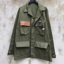 Армейская зеленая куртка сплошная женская одежда осень свободные стильные женские куртки с карманами верхняя одежда повседневные женские пальто