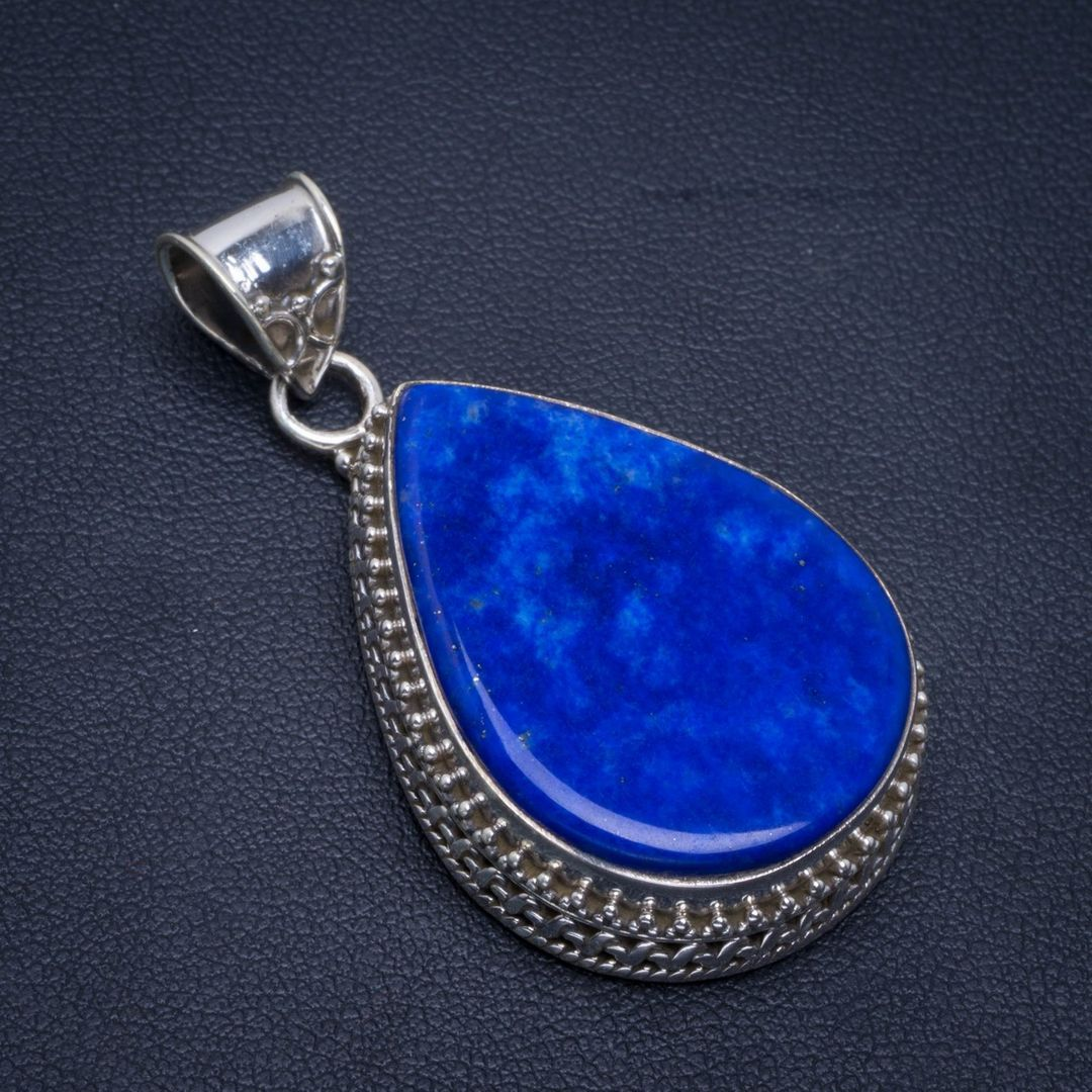 "Natural Lapis Lazuli Handmade Unique 925 Sterling Silver Pendant 1.75"" B3322"