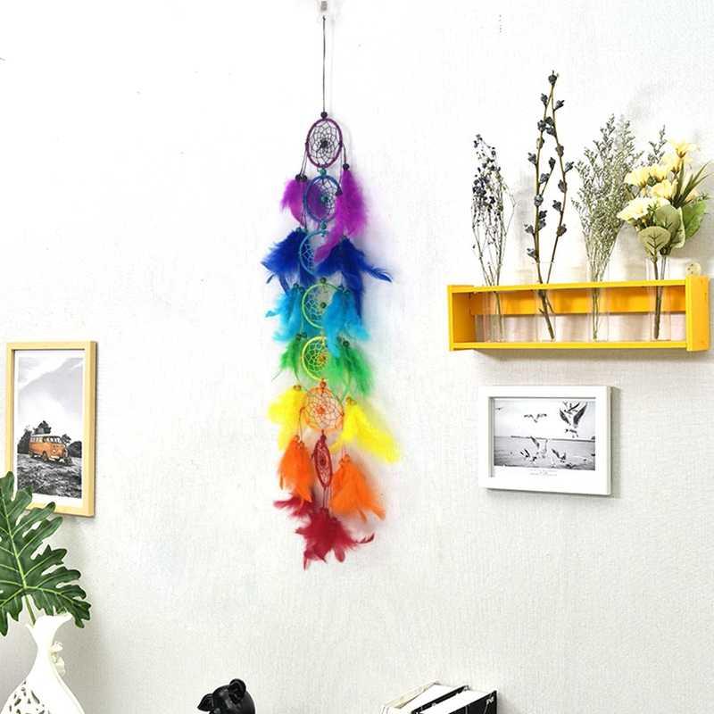 Creative Handmade ความฝันที่มีสีสัน Catcher แขวนตกแต่งเครื่องประดับตกแต่งบ้าน B & B ตกแต่งแขวนเครื่องประดับ Beige