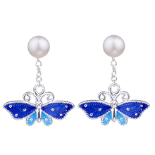 2 Usage Detachable Simulated Pearl Earrings for Women Chinese Cloisonne Enamel Earing Vintage Fashion Jewelry Unique Design mismatched detachable earrings