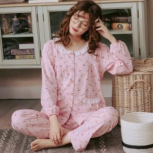 Image 5 - 2019 outono inverno conjuntos de pijamas femininos flor impressão luxo feminino duas peças camisas + calças camisola macio bonito rosa pijamas