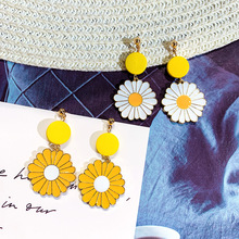DREJEW Yellow White Flower Alloy Statement Earrings Sets 2019 Silver 925 Drop for Women Wedding Fashion Jewelry HE2941