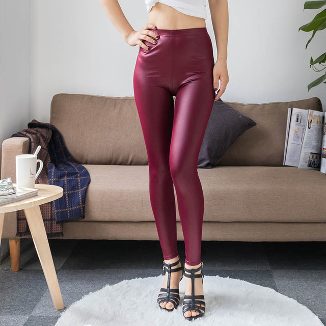 High Waist Faux Leather Leggings 2