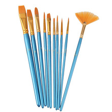 10pcs Blue Handle Nylon Hair Multifunction Paint Brushes