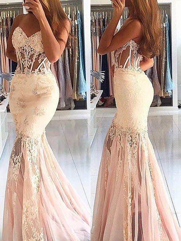 2020 Elegant Graduation Dress Trumpet/Mermaid Sleeveless Sweetheart Tulle Lace Sweep/Brush Train Dresses For Party