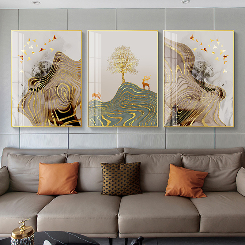 Abstract Golden Foil Canvas Painting Modern Gold Sun Deer Wall Art Picture for Living Room Nordic Blue Green Block Poster Print