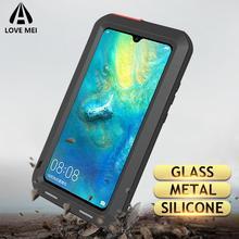 Aşk Mei Metal kasa Huawei P40 Pro P20 P30 Lite Mate 30 20 10 Lite Pro darbeye dayanıklı Anti sonbahar telefon kapak sağlam zırh kılıfları