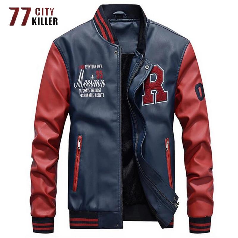 Brand Embroidery Baseball Jackets Men Pu Faux Leather Jacket Male Motorcycle Luxury Fleece Pilot Letter Stand Bomber Men Coats|Jackets| - AliExpress