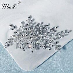 Женский гребень для волос Miallo, серебристая Расческа с кристаллами в виде листика для свадьбы, украшения для волос