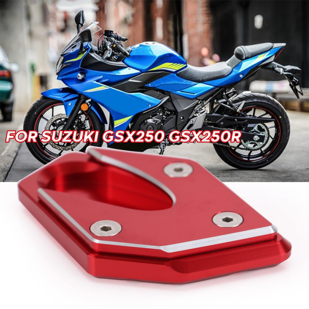 FXCNC Racing Aluminum CNC Motorcycle Side Stand Plate Kickstand Extension Pad Fit For Suzuki GW250 Inazuma 2011-2015 GSX250R DL250 GSX250