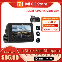 70mai Smart Dash Cam 4K A800 Built-in GPS ADAS Parking Monitior SONY IMX415 140FOV Real 4K UHD Cinema-quality Image 70 mai A800