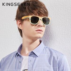 Image 2 - KINGSEVEN 2020 Retro Bamboo Sunglasses Men Women Polarized Mirror UV400 Sun Glasses Full Frame Wood Shades Goggles Handmade