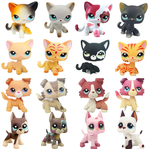lps real rare pet shop toys Lovely Rare Black Cat Blue Eyes White Pink Glitter Kitten Animals Kids Gift free shipping(China)