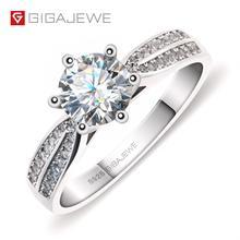 GIGAJEWE 1.0ct 6.5mm EF Ronde 18K Wit Vergulde 925 Zilveren Moissanite Ring Diamant Test Geslaagd Sieraden Vrouw vriendin Gift