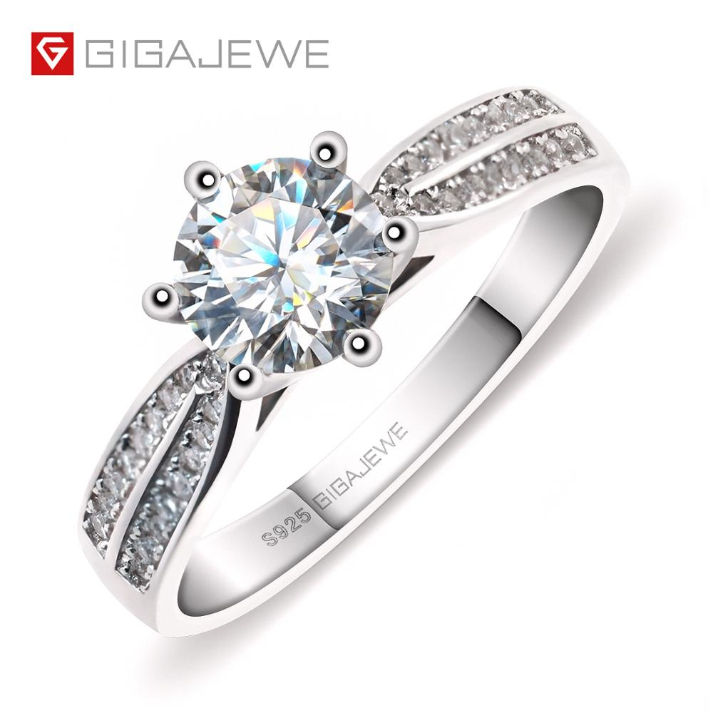 GIGAJEWE 1.0ct 6.5mm EF Round 18K White Gold Plated 925 Silver 