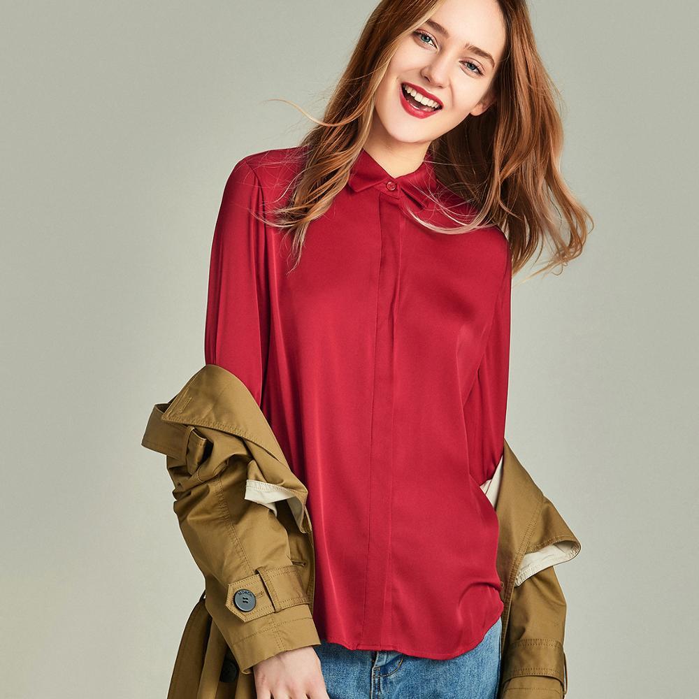 HAVVA printemps automne femmes couleur Pure Windsor col manches longues chemise pour simple boutonnage 100% Polyester Blouse C4251 - 5