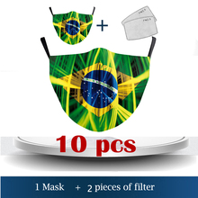 2021New Adult Kid Anti Dust Adjustable Mask Brazil's flag design Brazil Pattern Reusable Breathable Protect Washable