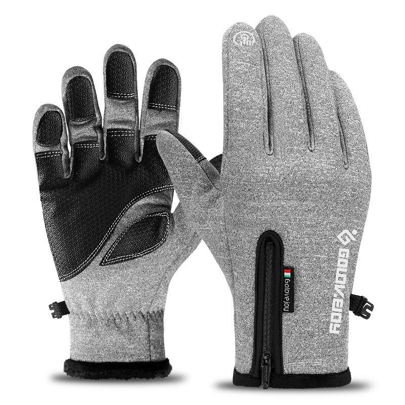 Winter Men Windproof Gloves Anti Slip Thermal Warm Touchscreen Glove Windstoper Breathable Tactico Women Black Zipper Glove G010
