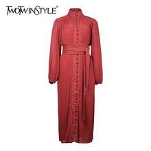 TWOTWINSTYLE платье с бантом для женщин воротник-стойка с пышными рукавами Высокая талия на шнуровке богемные платья для женщин Осенняя мода новинка