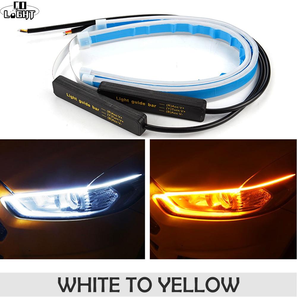 CO 30 45 60 centímetros Luz de Circulação Diurna LUZ LED DRL Carro Guia de Tubo Macio E Flexível Tira CONDUZIDA Branco de Abertura de cama sinal Amarelo À Prova D' Água 12V