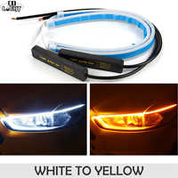 CO LIGHT LED DRL 30 45 60cm Daytime Running Light Flexible Soft Tube Guide Car LED Strip White Turn Signal Yellow Waterproof 12V