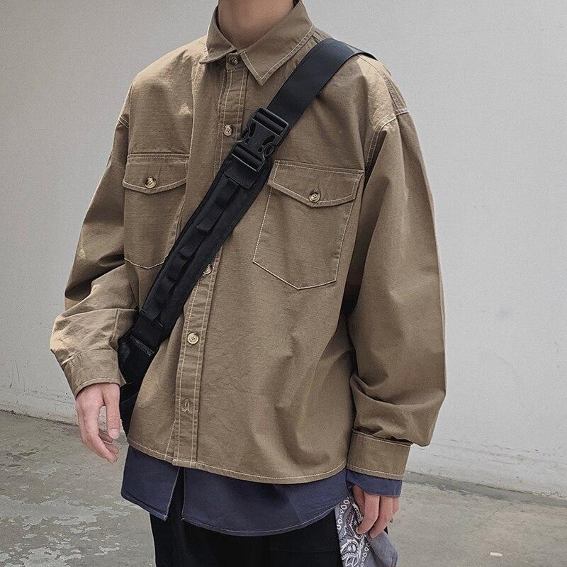 Осенняя хлопковая куртка, Мужская модная однотонная Повседневная рабочая куртка, Мужская Уличная Свободная куртка Бомбер, Мужская M-2XL
