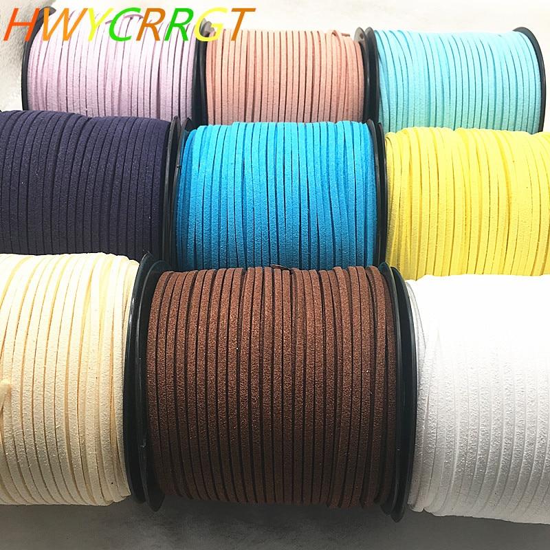 NEW 5yards/lot 3mm double sided Suede Braided Cord Korean Velvet Leather Handmade Beading Bracelet Jewelry String