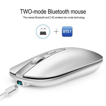 M50 Dual Mode Bluetooth 5.1 Rechargeable Wireless Gaming Office Mouse Metal Wheel Mute 2.4G Gamer Mouse For PC Computer