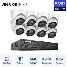 Annke 8CH Fhd 5MP Poe Netwerk Video Security System H.265 + 6MP Nvr Met 8X 5MP Waterdichte Surveillance Poe Camera met Audio In