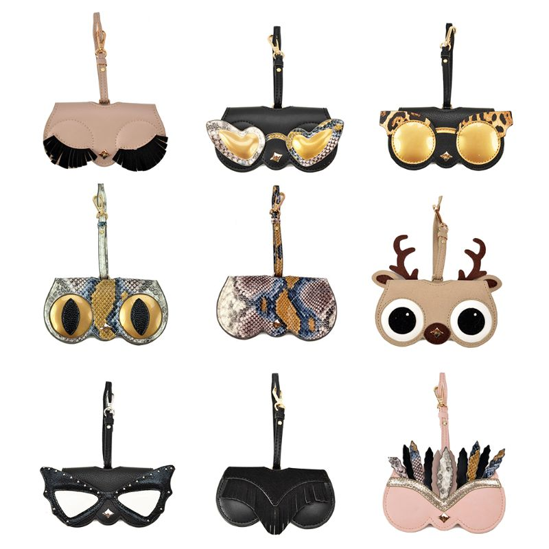 Women Sunglasses Case Cool Styles Soft PU With Hanging Strap Eyewear Accessories 517D