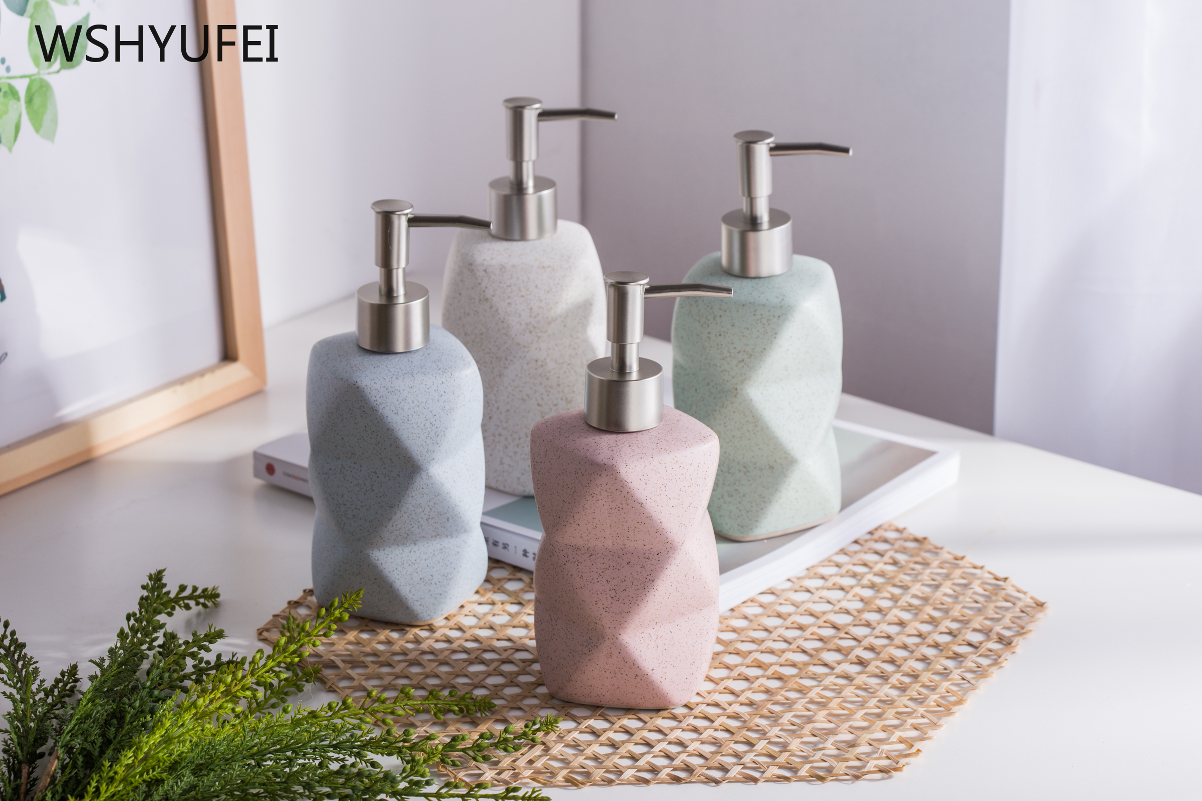 High-grade Geometric Irregular Shape Home Bathroom Ware Ceramic Hand Soap Dispenser Shower Gel Lotion Bottle Press Liquid Bottle