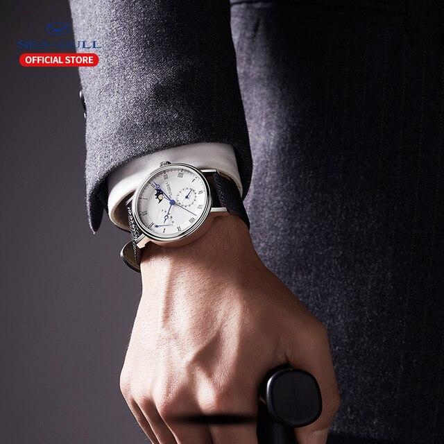 Seagull relógio automático masculino mecânico automático da fase da lua relógios dia data homem relógio 2019 designer 819.11.6092 5