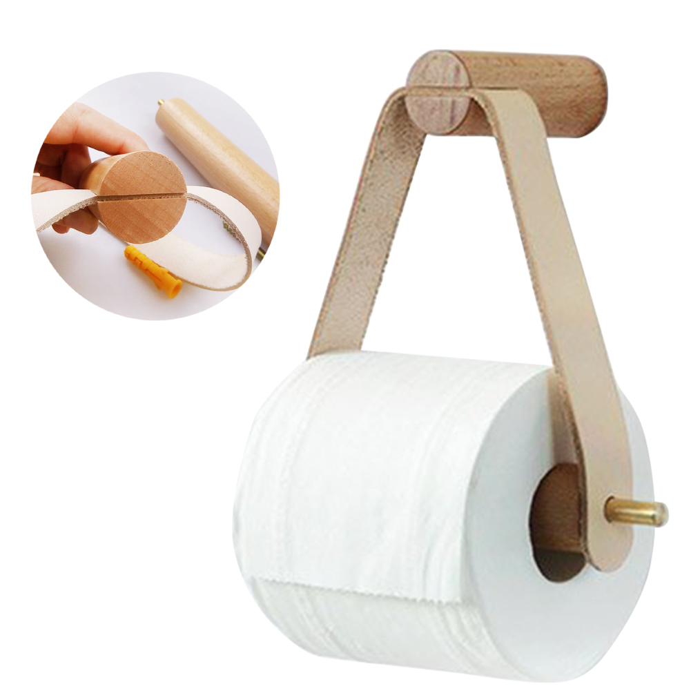 Sturdy Toilet Easy Install Restaurant Roll Paper Holder Vertical Wall Mount Bathroom Wooden Storage Home Hotel Multipurpose