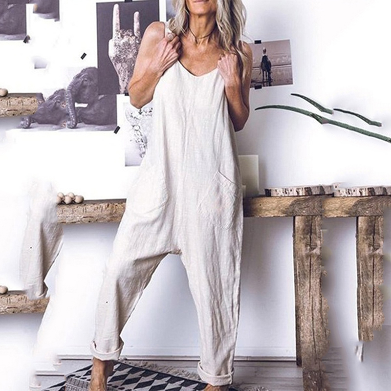Summer Sling Jumpsuit Long Rompers Casual Loose Pocket Jumpsuit Womens Sleeveless Loose Jumpsiut Solid Sexy Strappy Jumpsuits