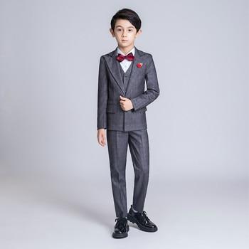 Kids Suits For Boy Wedding Blazer Suit Formal Suits 5PCS Blazer Vest Pants Fower Boy Suits