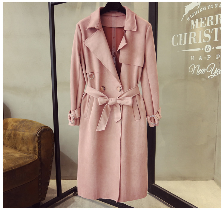Turn Down Collar Sash Suede Long Trench Coat 9